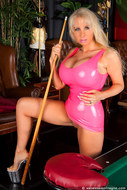 Vanessa playing pool in latex - 04