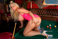 Vanessa playing pool in latex - 16