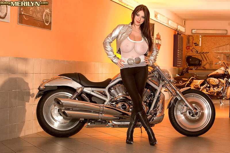 Biker chick with mammoth tits - 00