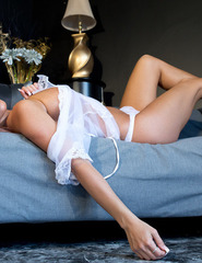 Nikki In White Sheer Robe - 04