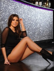 Sarah Teasing In Her Black Body Suit  - 04