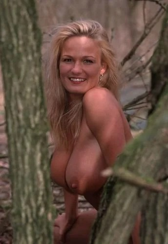 Blonde milf in the forest