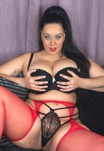Anastasia Lux Black Lingerie And Red Stockings