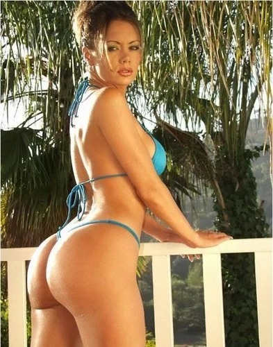 Crissy Moran blue string bikini