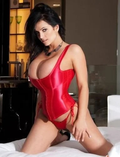 Denise in red corset