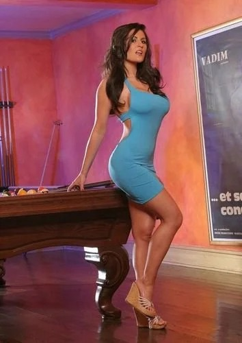 Austin in blue dress